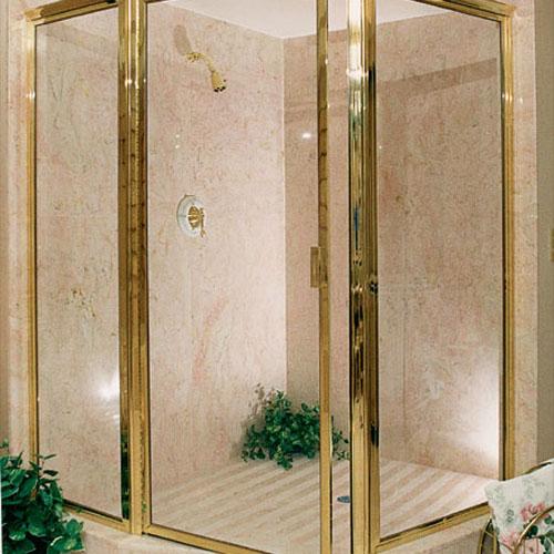 brass framed shower enclosure