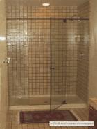 glass shower enclosure with sliding door