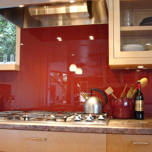 backpainted glass in kitchen