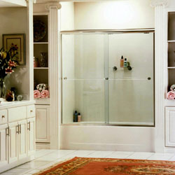 clear glass shower enclosure