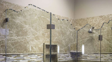 glass shower enclosure with jagged top