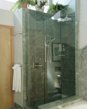 Schicker AG93 2-Sided Frameless Shower Enclosure With Wave Top