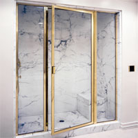 brass framed shower enclosures