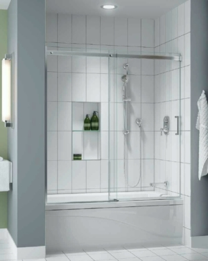 Apollo In-Line Tub slider, tub height shower door