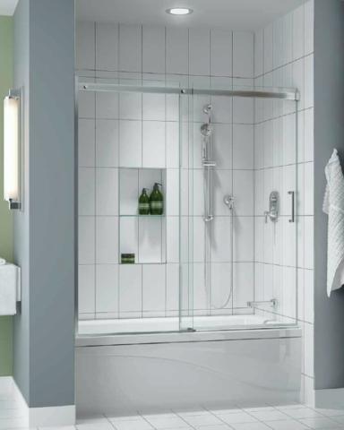 Apollo In-Line Tub slider, tub height shower door