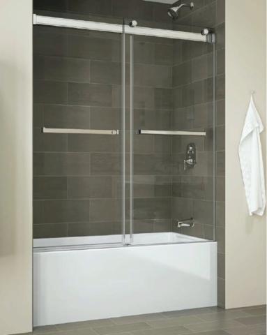 Gemini Bypass Tub Slider shower door