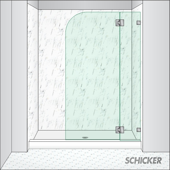 In Line Shower Height Hinged Screen With One Stationary Panel Dual Acting Action 90 Degree Outward And Inward Opening Capability