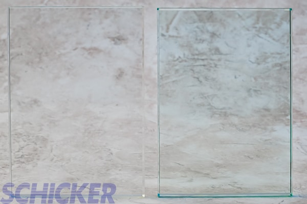"""Clear vs Crystal Clear 3/8"""" glass samples"""