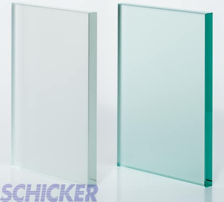 "Satin vs Low Iron Satin 1/2"" glass samples"