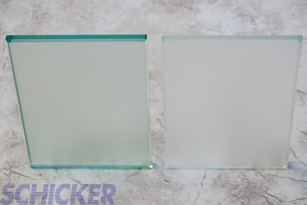 "Satin vs Low Iron Satin 3/8"" glass comparison"