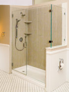 AG93 2 sided shower door with buttress wall
