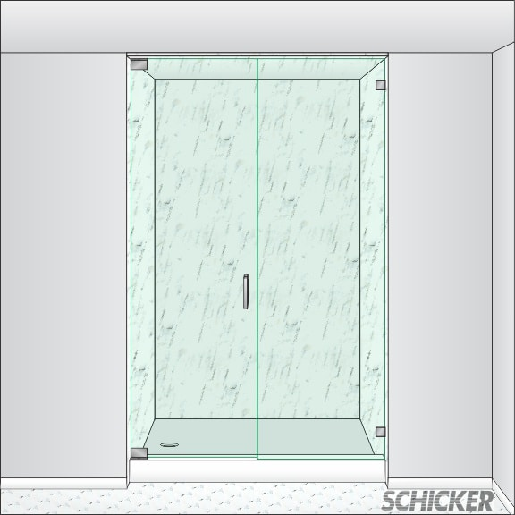 Door panel hinged off the wall. Unit height extends from the curb/floor to the ceiling or soffit. An operable transom ...  sc 1 st  Schicker Shower Doors & All-Glass Shower Doors | In-line Shower | AGS91