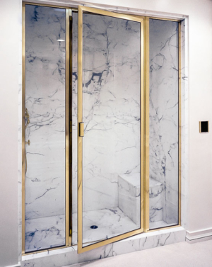 BF91PHX In-line Brass Frame Shower Enclosure