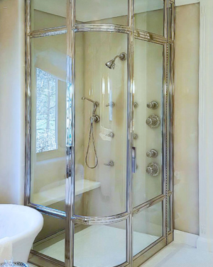 BFS93 Steam Brass Frame Shower Enclosure - Polished Nickel