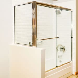 brass framed shower door