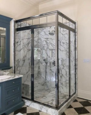 BF93PHX 2-Sided Brass Frame Shower Enclosure - Polished Chrome