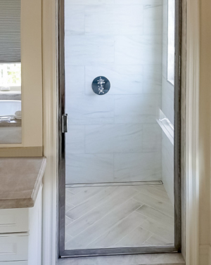 BF90 Brass Frame Hinged Shower Door
