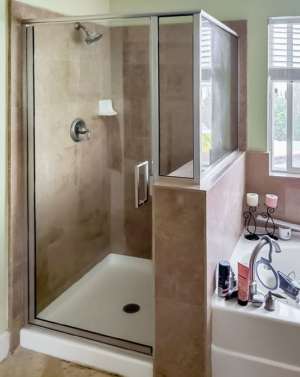 Schicker 393CAD Silver Semi-frameless Shower Enclosure