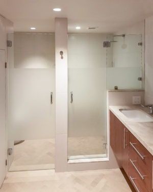 Schicker In-line Frameless Enclosures with Sandblasting Privacy Band