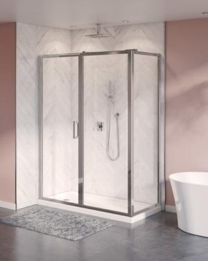 Fleurco Elera 2-Sided Framed Pivot Shower Door - Chrome Finish