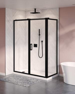 Fleurco Elera 2-Sided Framed Pivot Shower Door - Matte Black Finish
