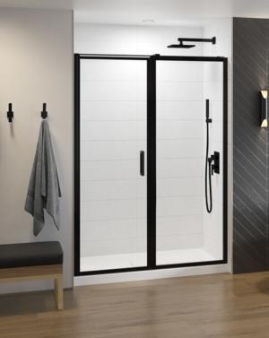 Fleurco Elera In-line Framed Pivot Shower Door, Matte Black